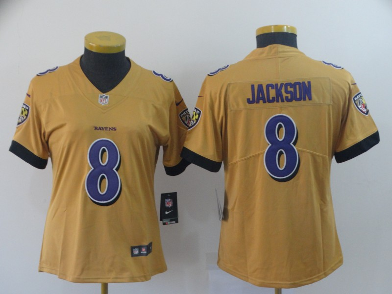 Women's Baltimore Ravens #8 Lamar Jackson Gold Inverted Legend Stitched NFL Jersey(Run Small)
