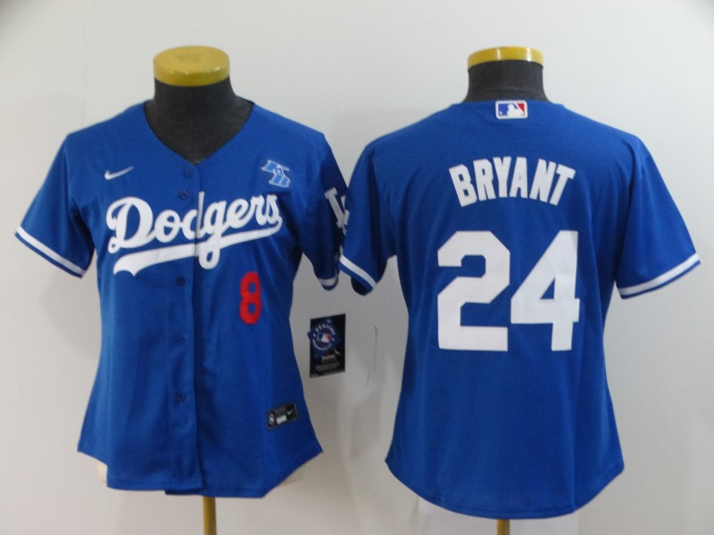 Women's Los Angeles Dodgers 2020 Front #8 Back #24 Kobe Bryant White Cool Base Stitched MLB Jersey(Run Small)