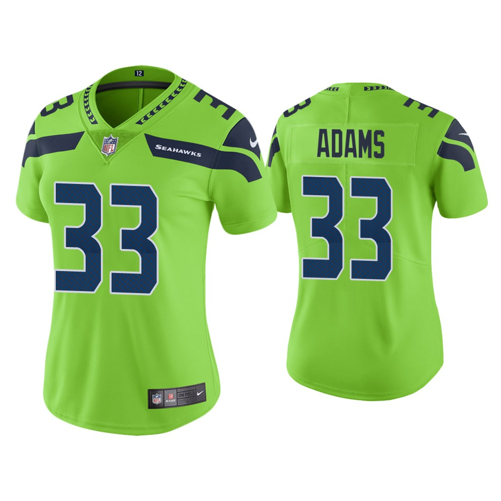 Women's Seattle Seahawks #33 Jamal Adams Green Color Rush Limited Stitched Jersey