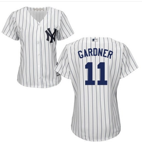 Women's New York Yankees #11 Brett Gardner White Cool Base Stitched Jersey(Run Small)