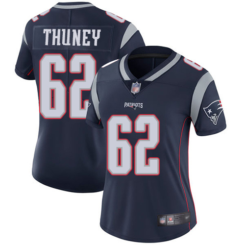 Women's New England Patriots #62 Joe Thuney Navy Vapor Untouchable Limited Stitched NFL Jersey(Run Small)