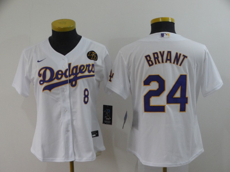 Women's Los Angeles Dodgers Front #8 Back #24 Kobe Bryant White Cool Base Stitched MLB Jersey(Run Small)