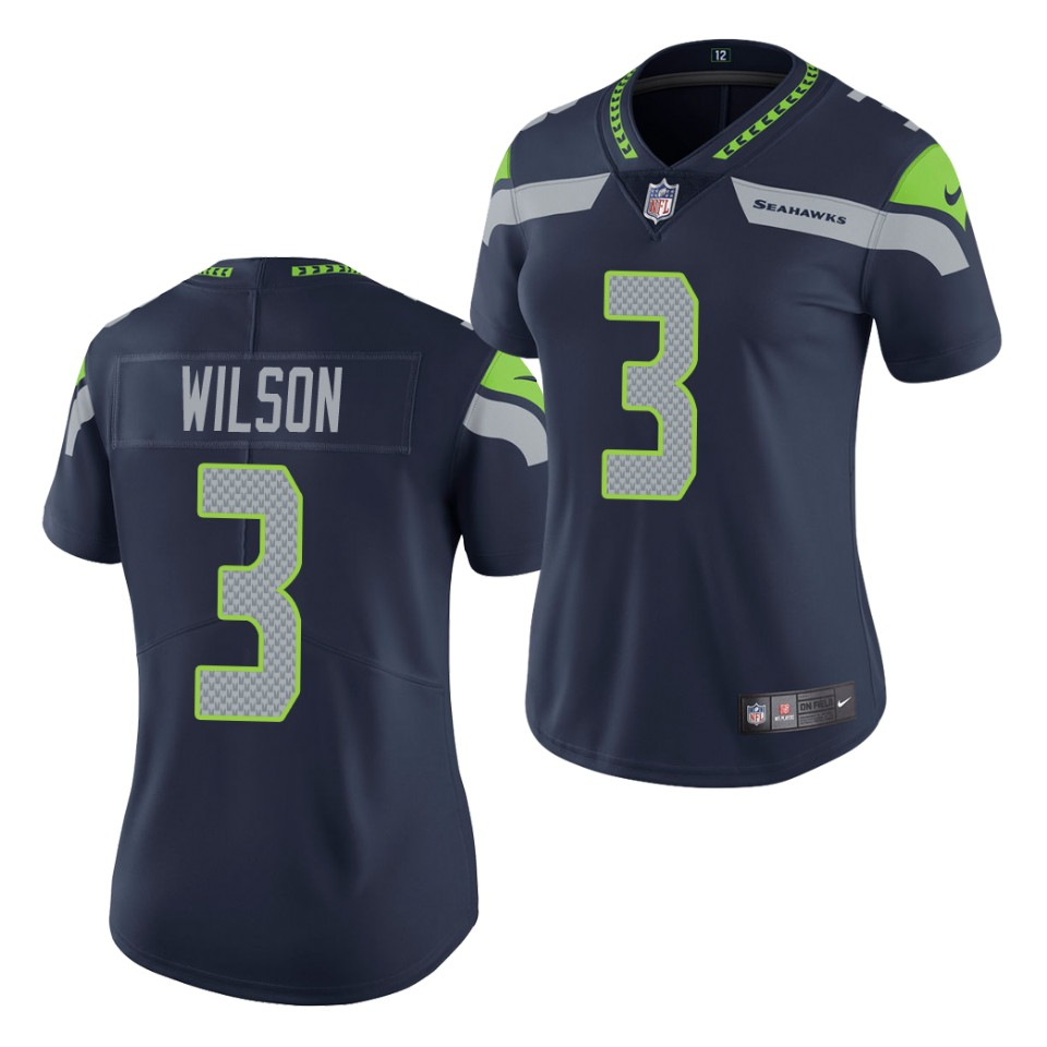 Women's Seattle Seahawks #3 Russell Wilson Navy Untouchable Limited Stitched Jersey