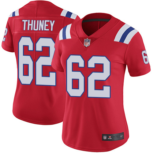 Women's New England Patriots #62 Joe Thuney Red Vapor Untouchable Limited Stitched NFL Jersey(Run Small)
