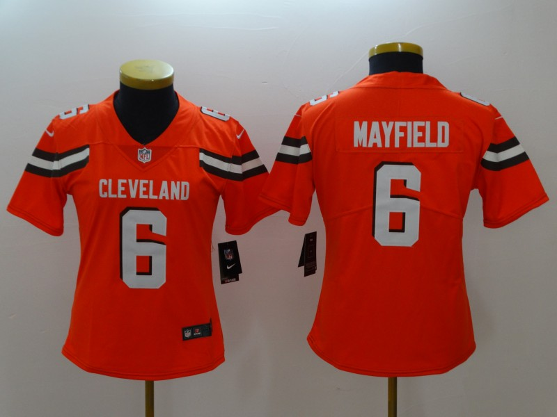 Women's Cleveland Browns #6 Baker Mayfield Orange 2018 NFL Draft Vapor Untouchable Limited Stitched Jersey
