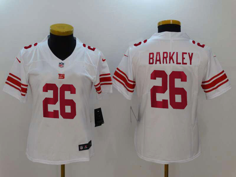 Women's New York Giants #26 Saquon Barkley White 2018 NFL Draft Vapor Untouchable Limited Stitched Jersey