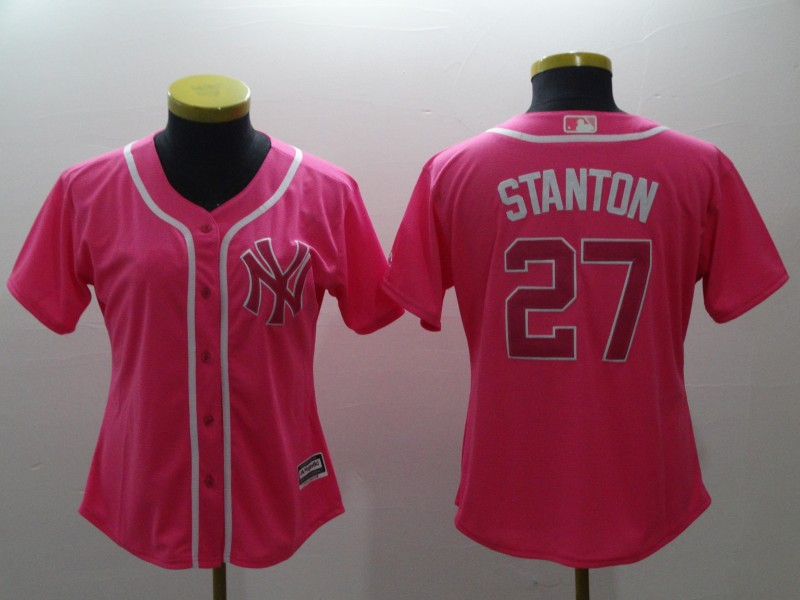 Women's New York Yankees #27 Giancarlo Stanton Pink Cool Base Stitched MLB Jersey