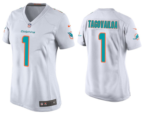 Women's Miami Dolphins #1 Tua Tagovailoa White Stitched Jersey(Run Small)