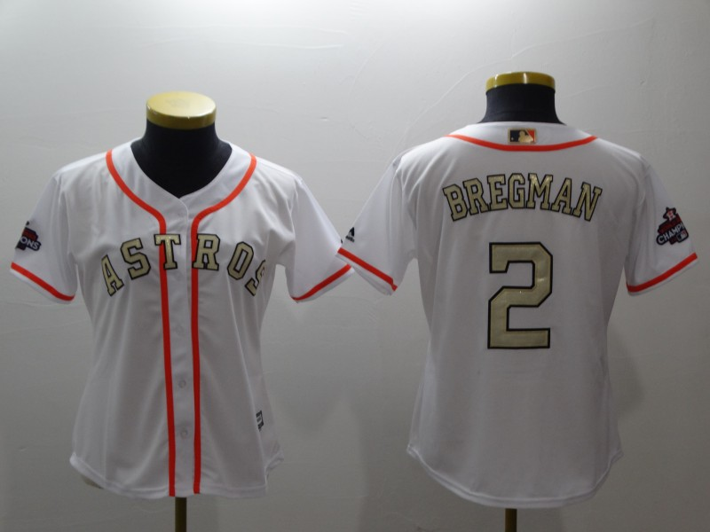 Women's Houston Astros #2 Alex Bregman Majestic White 2018 Gold Program Cool Base Player Stitched MLB Jersey