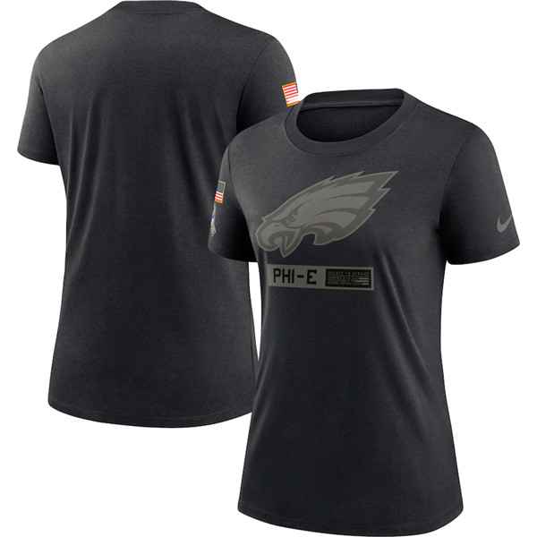 Women's Philadelphia Eagles 2020 Black Salute To Service Performance NFL T-Shirt (Run Small)