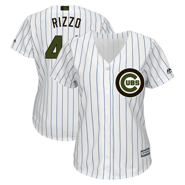 Women's Chicago Cubs #44 Anthony Rizzo White 2018 Memorial Day Cool Base Stitched MLB Jersey