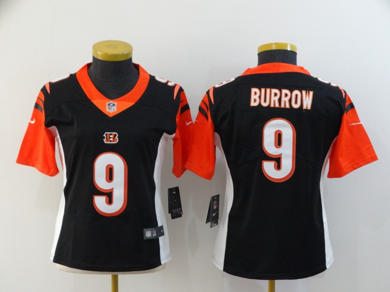 Women's Cincinnati Bengals #9 Joe Burrow Black Vapor Stitched Jersey(Run Small)