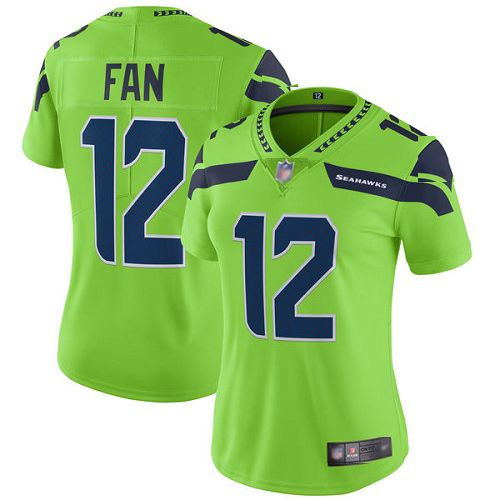 Women's Seahawks #12 Fan Green Vapor Untouchable Limited Stitched NFL Jersey