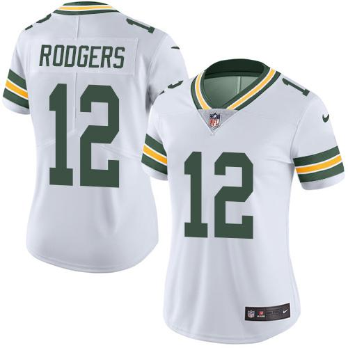 Women's Nike Green Bay Packers #12 Rodgers White Limited Stitched NFL Jersey