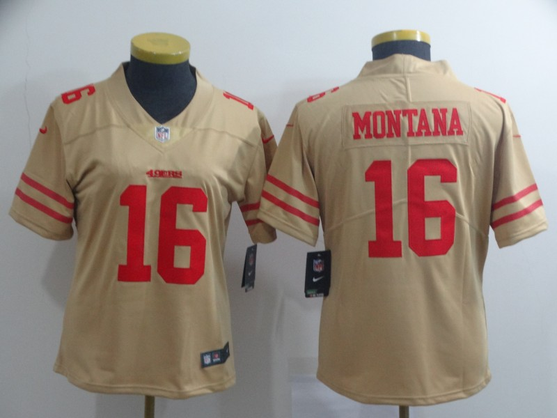 Women's NFL San Francisco 49ers #16 Joe Montana 2019 Gold Inverted Legend Stitched NFL Jersey(Runs Small)