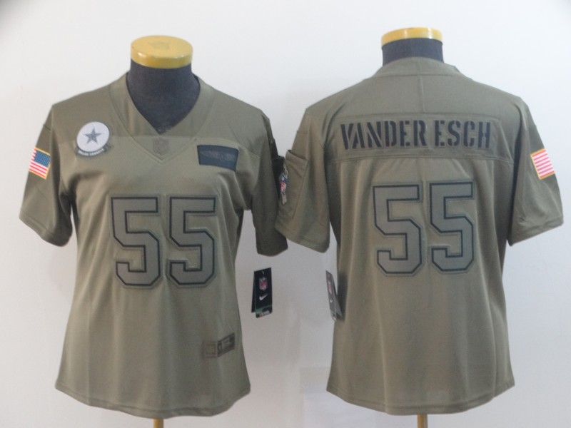 Women's Dallas Cowboys #55 Leighton Vander Esch 2019 Camo Salute To Service Stitched NFL Jersey