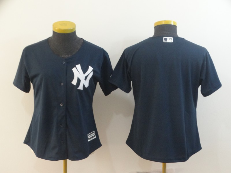 Women's New York Yankees Navy Blank Cool Base Stitched MLB Jersey(Run Small)