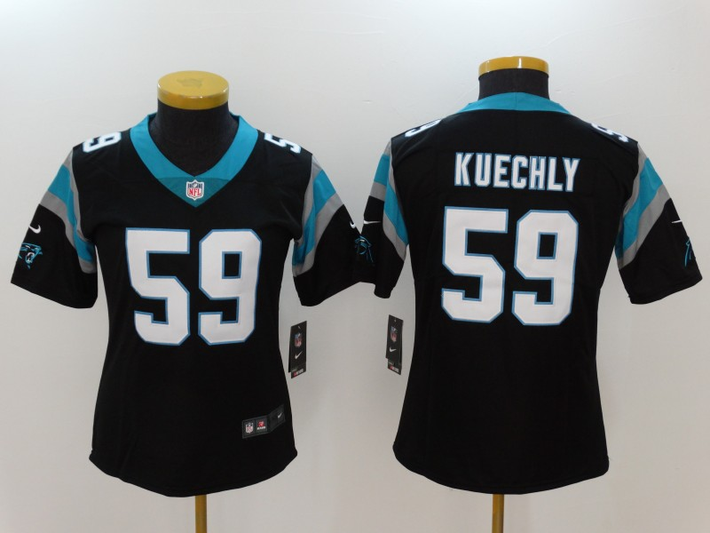 Women's Carolina Panthers #59 Luke Kuechly Black Vapor Untouchable Player Limited Jersey