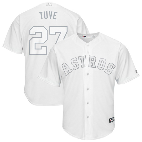 "Women's Houston Astros #27 Jose Altuve ""Tuve"" Majestic White 2019 Players' Weekend Pick-A-Player Replica Roster Stitched MLB Jersey(Run Small)"