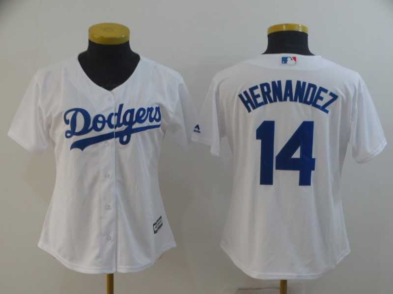 Women's Los Angeles Dodgers #14 Kike Hernandez White Cool Base Stitched MLB Jersey(Run Small)