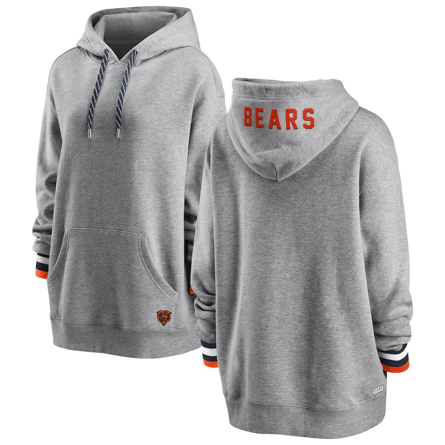 Women's Chicago Bears WEAR By Erin Andrews Heathered Gray Pullover Fleece NFL Hoodie(Run Small)