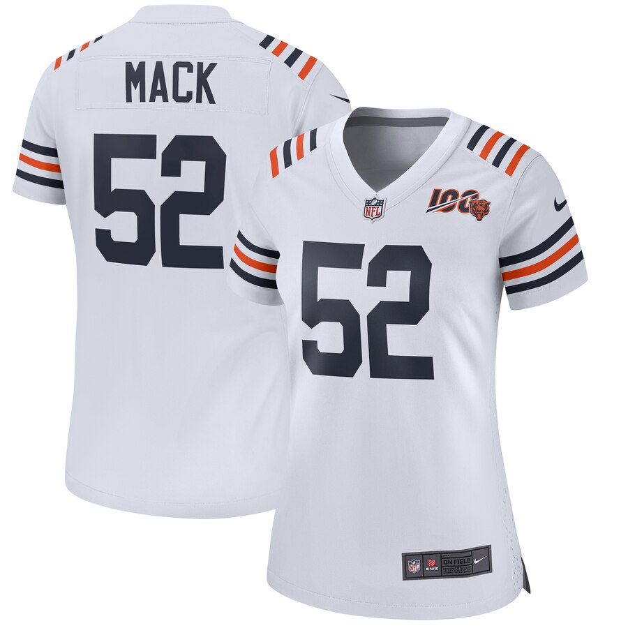 Women's Nike Chicago Bears #52 Khalil Mack White 2019 100th Stitched NFL Jersey