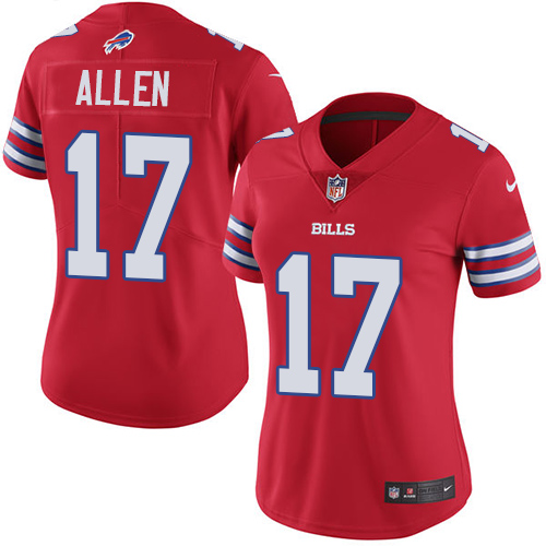 Women's Bills #17 Josh Allen Red Vapor Untouchable Limited Stitched NFL Jersey