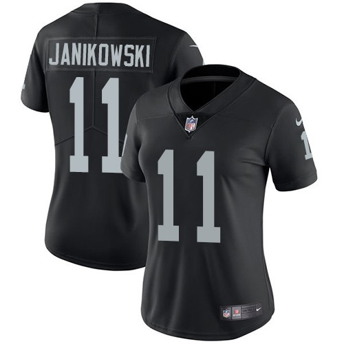 Women's Oakland Raiders #11 Sebastian Janikowski Black Vapor Untouchable Limited Stitched NFL Jersey(Run Small)