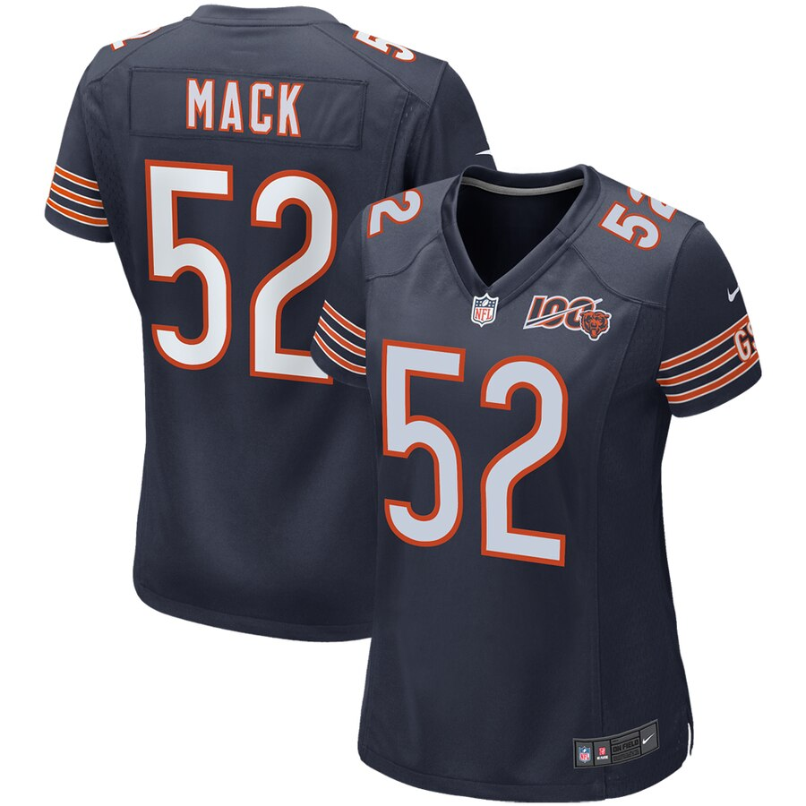 Women's Chicago Bears #52 Khalil Mack Navy 2019 100th Stitched NFL Jersey
