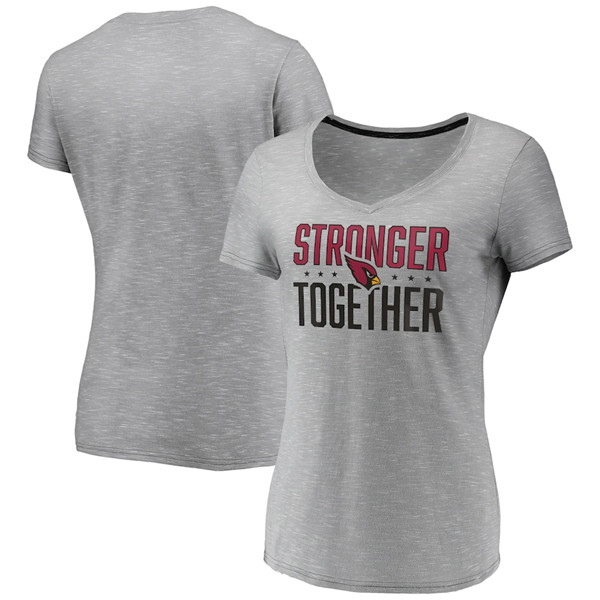Women's Arizona Cardinals Gray Stronger Together Space Dye V-Neck T-Shirt(Run Small)