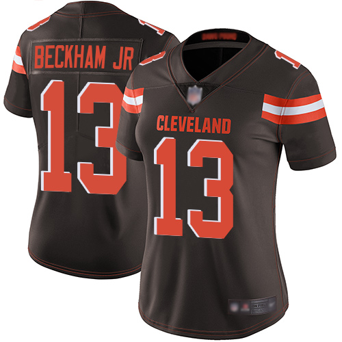 Women's Cleveland Browns #13 Odell Beckham Jr. White Vapor Untouchable Limited Stitched NFL Jersey(Run Small)