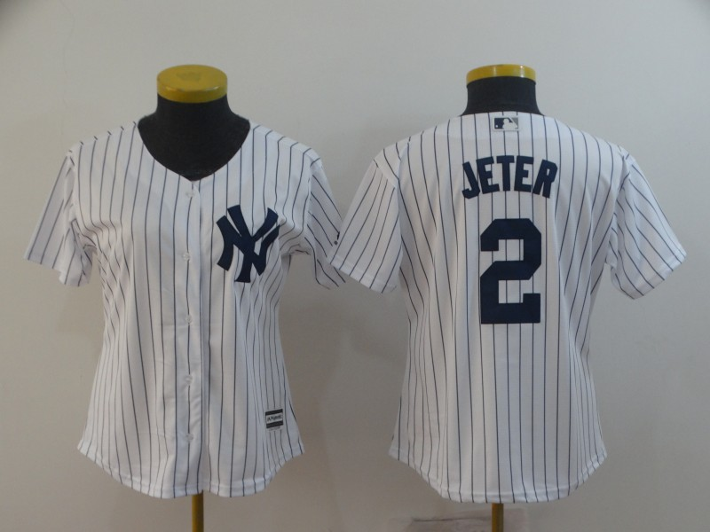 Women's New York Yankees #2 Derek Jeter White Cool Base Stitched MLB Jersey(Run Small)