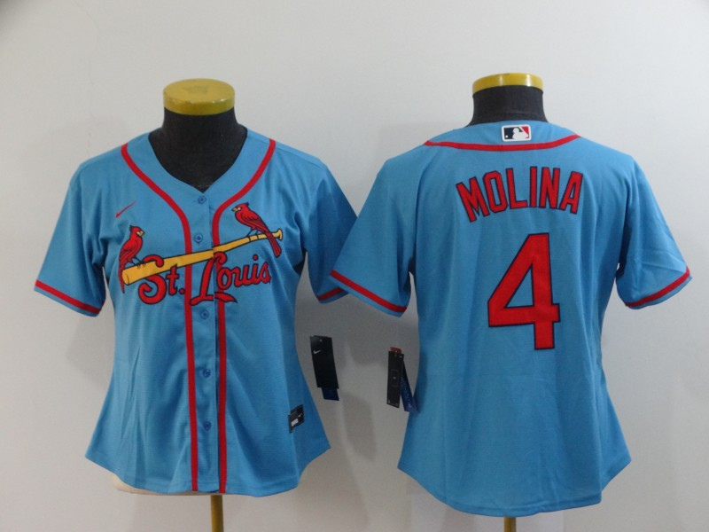 Women's St.Louis Cardinals #4 Yadier Molina Blue Cool Base Stitched MLB Jersey(Run Small)