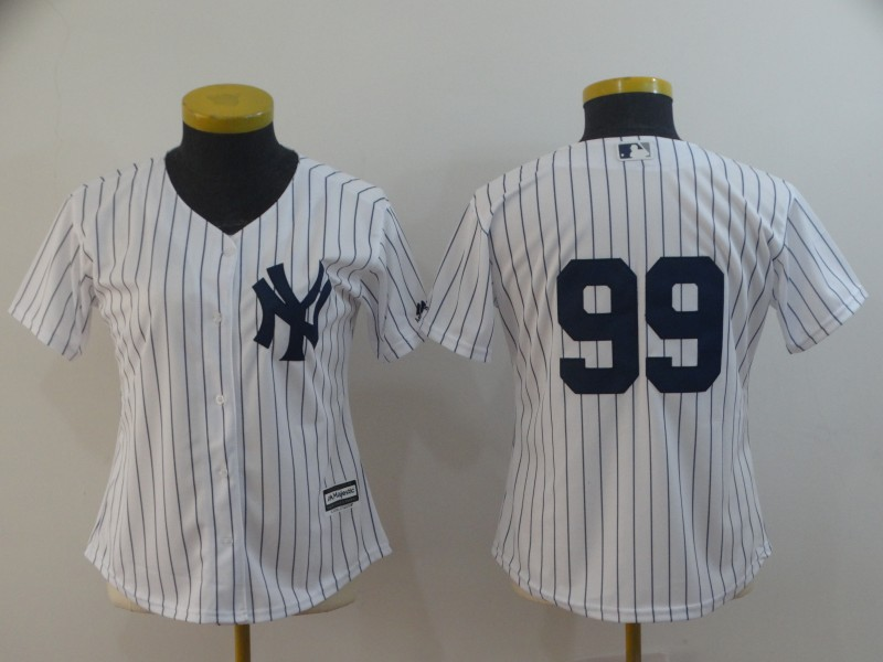 Women's New York Yankees #99 Aaron Judge White 2019 Cool Base Stitched MLB Jersey(Run Small)