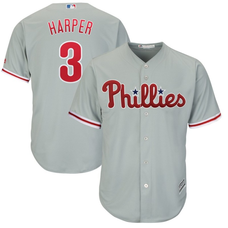 Women's Philadelphia Phillies #3 Bryce Harper Majestic Gray Home Cool Base Stitched MLB Jersey(Run Small)