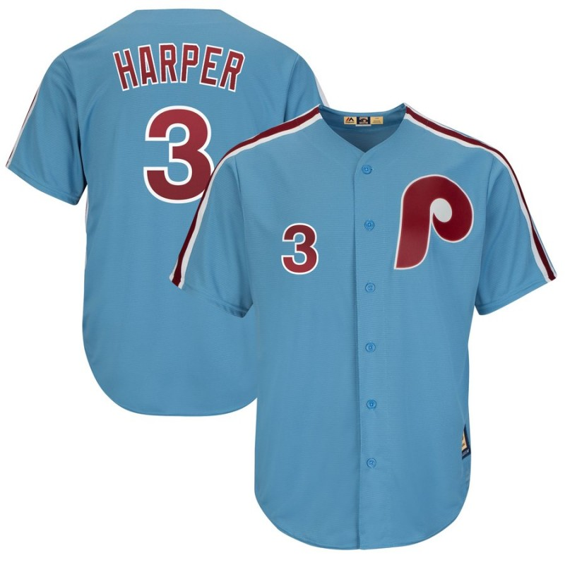 Women's Philadelphia Phillies #3 Bryce Harper Blue Throwback Stitched MLB Jersey(Run Small)