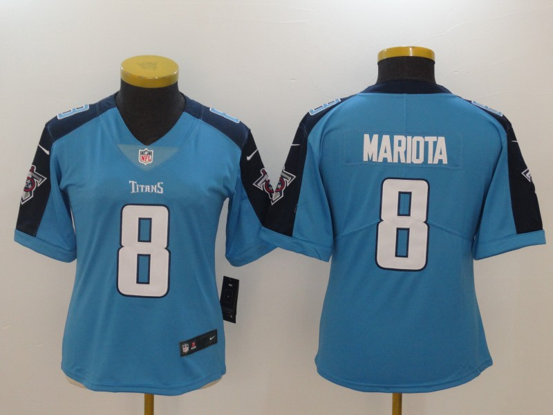 Women's Tennessee Titans #8 Marcus Mariota Light Blue New 2018 Vapor Untouchable Limited Stitched NFL Jersey