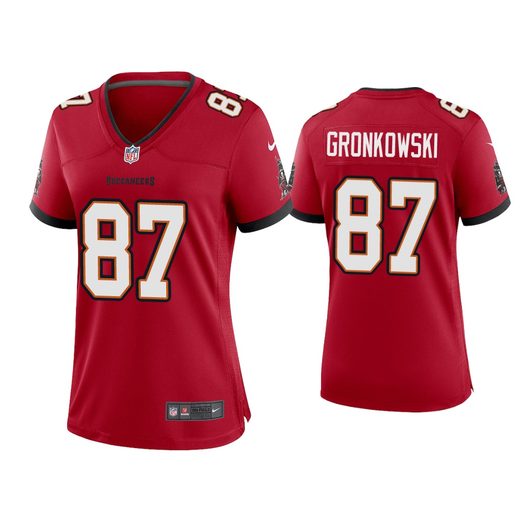 Women's Tampa Bay Buccaneers #87 Rob Gronkowski 2020 Red Stitched Jersey(Run Small)