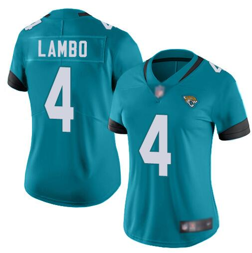 Women's Jacksonville Jaguars #4 Josh Lambo Blue Vapor Untouchable Limited Stitched NFL Jersey(Run Small)