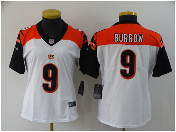 Women's Cincinnati Bengals #9 Joe Burrow White Vapor Stitched Jersey(Run Small)