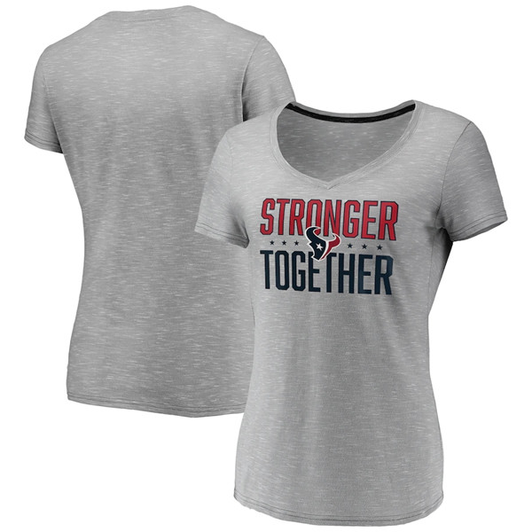 Women's Houston Texans Gray Stronger Together Space Dye V-Neck T-Shirt(Run Small)