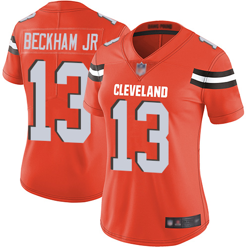 Women's Cleveland Browns #13 Odell Beckham Jr. Orange Vapor Untouchable Limited Stitched NFL Jersey(Run Small)