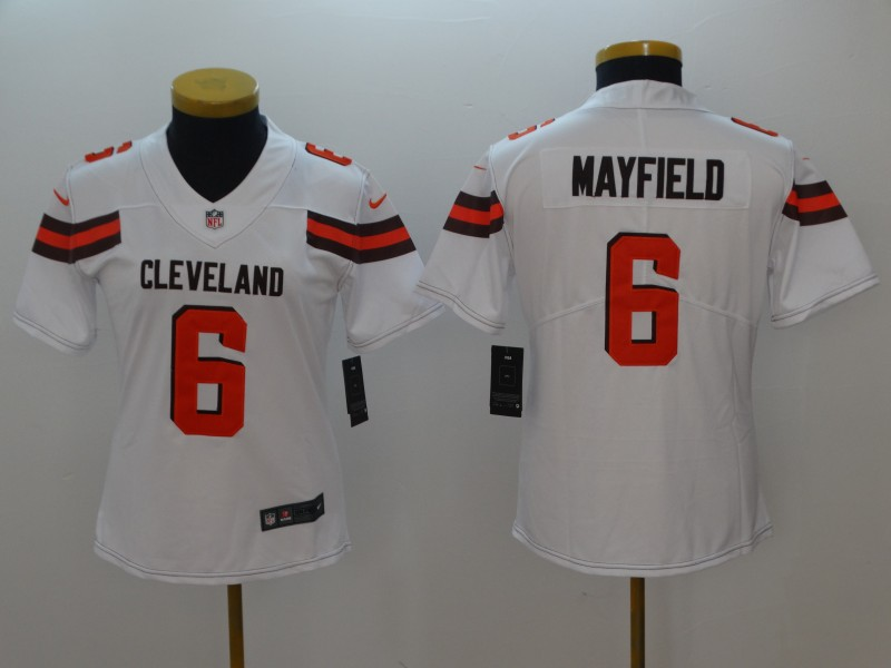 Women's Cleveland Browns #6 Baker Mayfield White 2018 NFL Draft Vapor Untouchable Limited Stitched Jersey