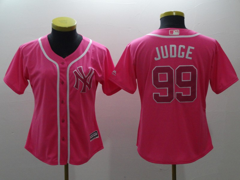 Women's New York Yankees #99 Aaron Judge Pink Cool Base Stitched MLB Jersey