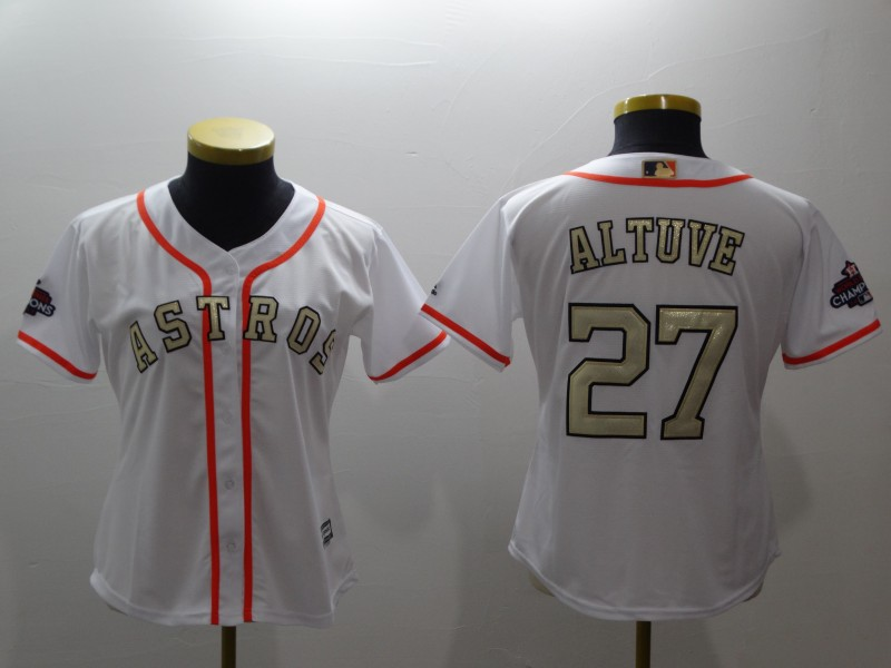 Women's Houston Astros #27 Jose Altuve Majestic White 2018 Gold Program Cool Base Player Stitched MLB Jersey