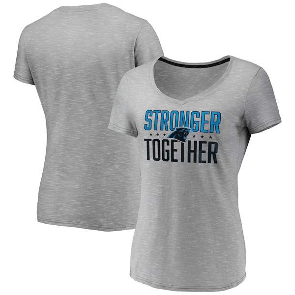 Women's Carolina Panthers Gray Stronger Together Space Dye V-Neck T-Shirt(Run Small)
