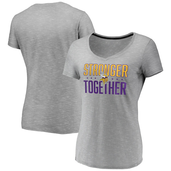 Women's Minnesota Vikings Gray Stronger Together Space Dye V-Neck T-Shirt(Run Small)