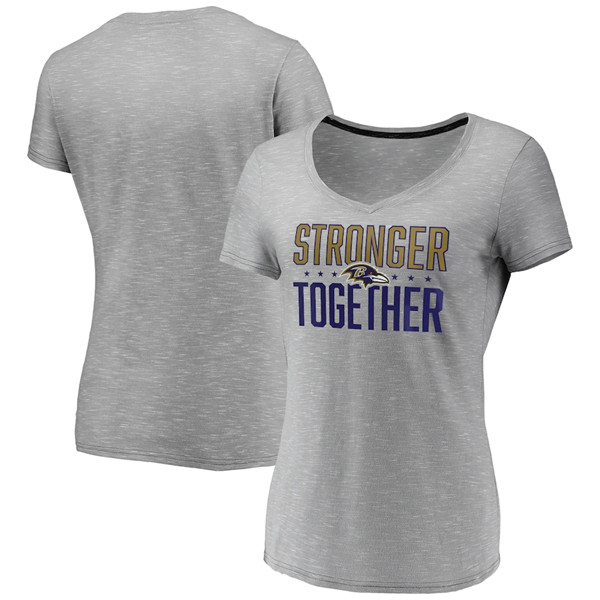 Women's Baltimore Ravens Gray Stronger Together Space Dye V-Neck T-Shirt(Run Small)