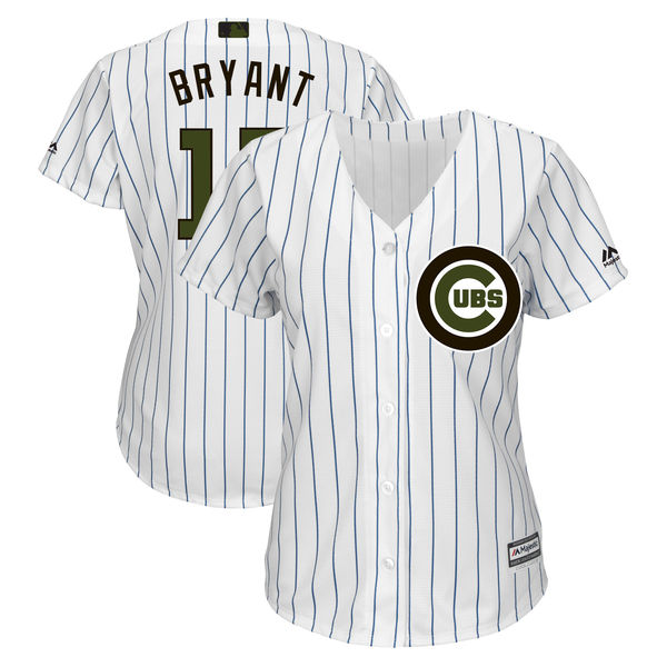 Women's Chicago Cubs #17 Kris Bryant White 2018 Memorial Day Cool Base Stitched MLB Jersey