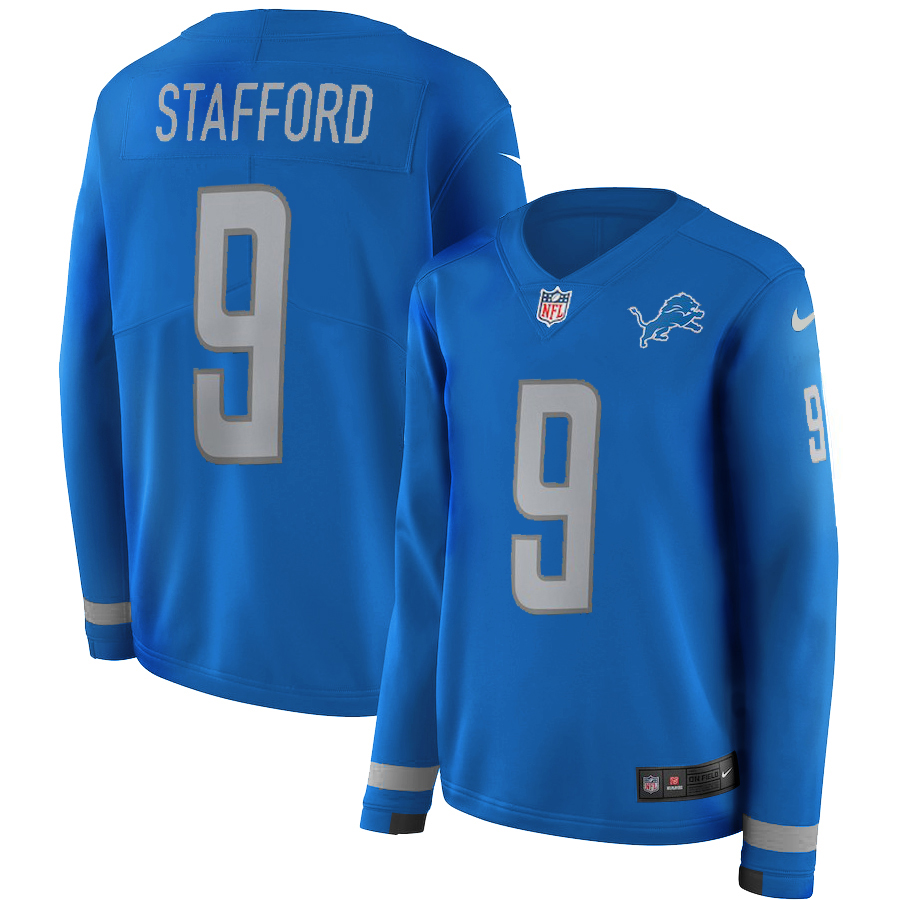 Women's Nike Detroit Lions #9 Matthew Stafford Blue Therma Long Sleeve Stitched NFL Jersey